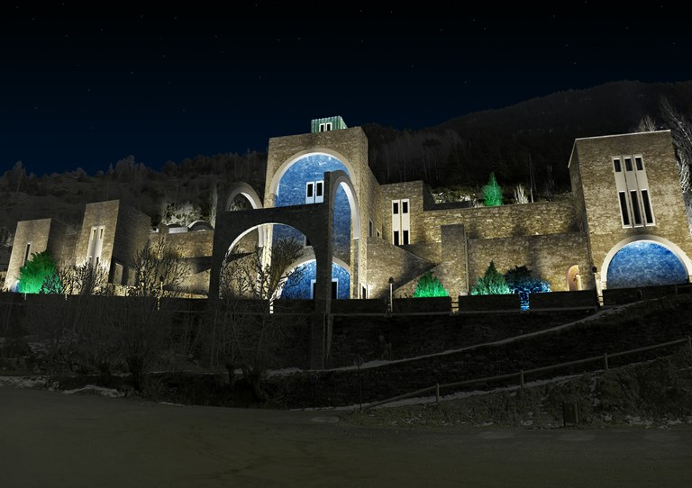 External lighting of sanctuary of nostra senyora de Meritxell