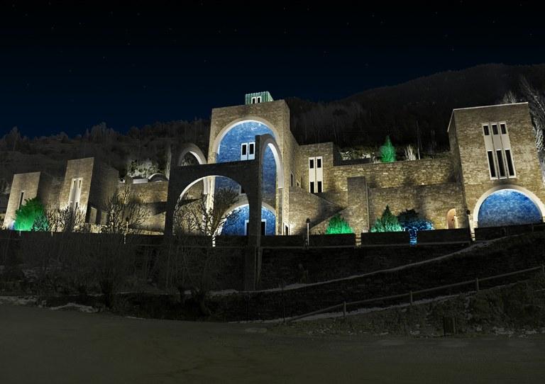 Iluminación exterior del Santuario de nuestra señora de Meritxell